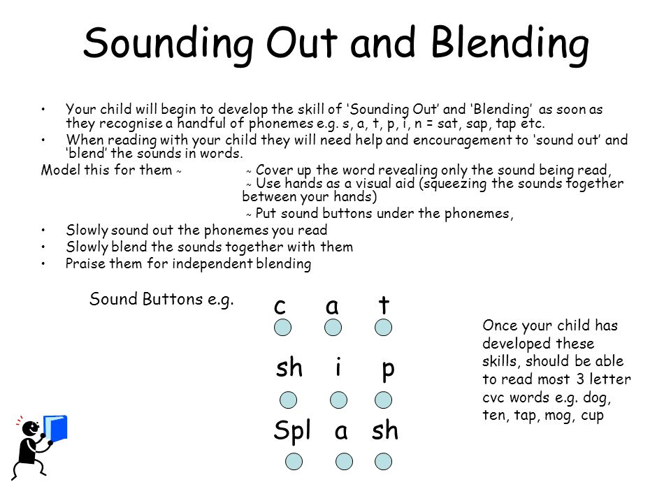 Sounding Out and Blending Your child will begin to develop the skill of 'Sounding Out' and 'Blending' as soon as they recognise a handful of phonemes e.g.