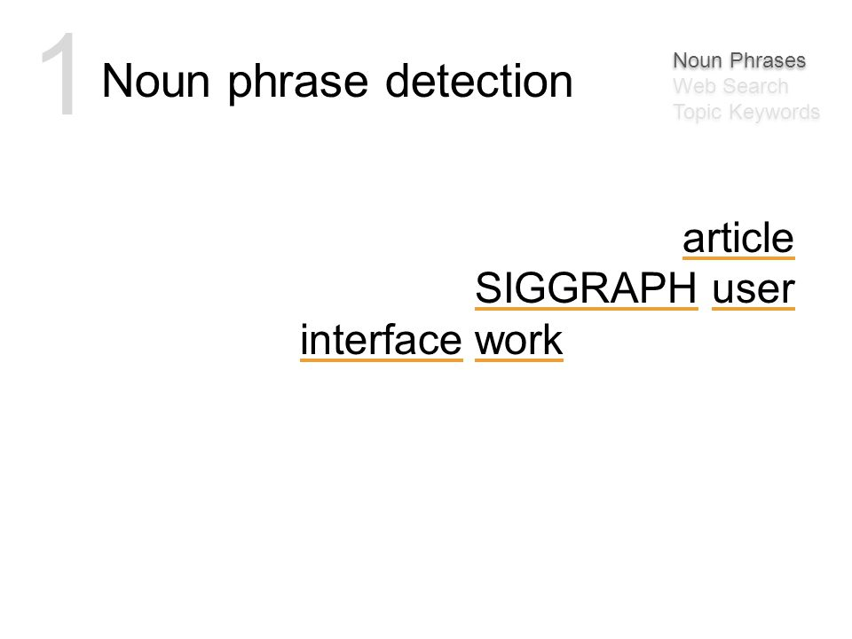 msbernst Awesome article on some SIGGRAPH user interface work: http://bit.ly/30MJy Noun phrase detection 1 Noun Phrases Web Search Topic Keywords Noun Phrases Web Search Topic Keywords