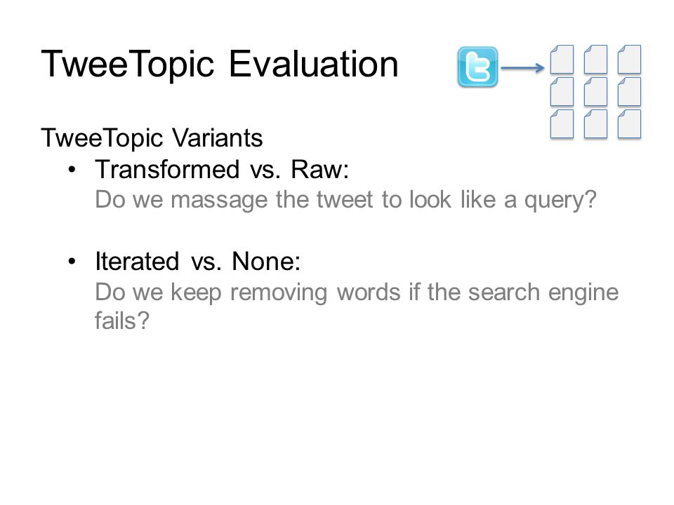 TweeTopic Evaluation TweeTopic Variants Transformed vs.