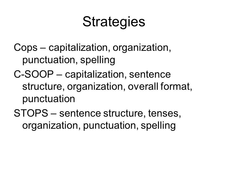 Strategies Cops – capitalization, organization, punctuation, spelling C-SOOP – capitalization, sentence structure, organization, overall format, punct