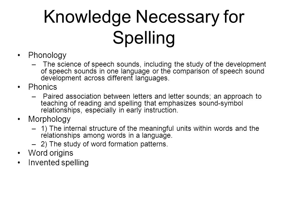 Knowledge Necessary for Spelling Phonology – The science of speech sounds, including the study of the development of speech sounds in one language or