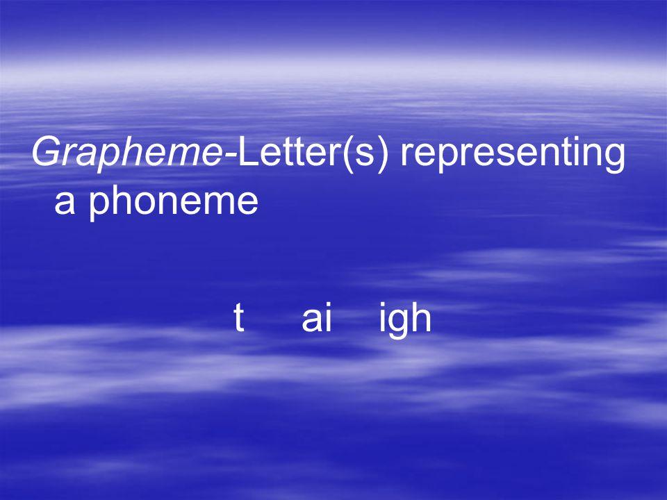 Grapheme-Letter(s) representing a phoneme t ai igh