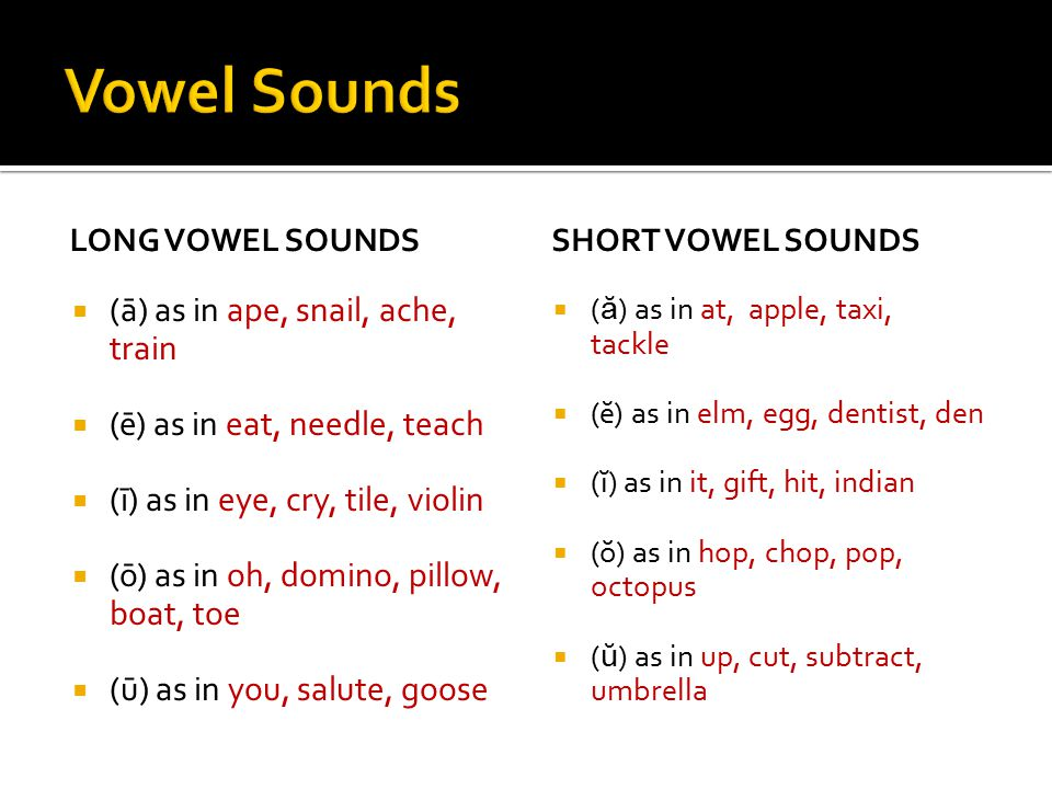  A sound made by the free movement of air through the mouth.  The vowels are: a, e, i, o, and u  Each vowel has three sounds: A long sound, a short