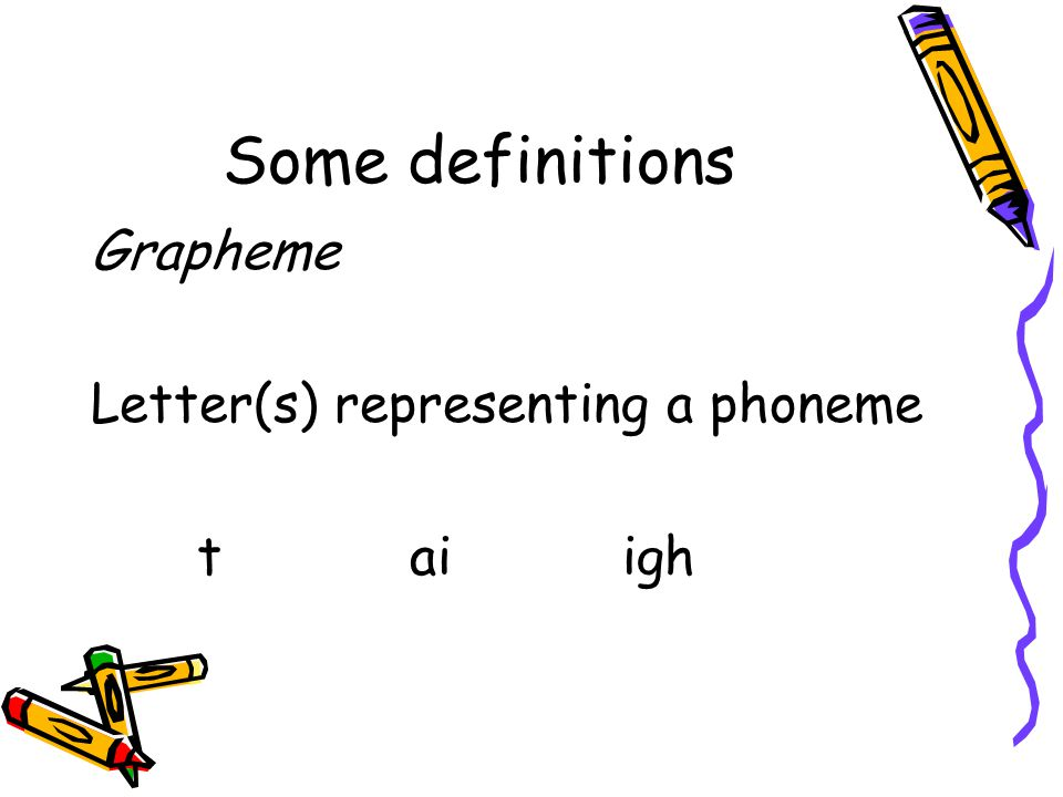 Some definitions Grapheme Letter(s) representing a phoneme taiigh