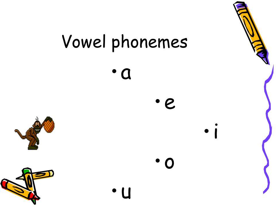 Vowel phonemes a e i o u