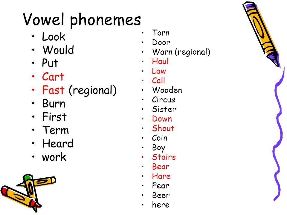 Vowel phonemes Look Would Put Cart Fast (regional) Burn First Term Heard work Torn Door Warn (regional) Haul Law Call Wooden Circus Sister Down Shout
