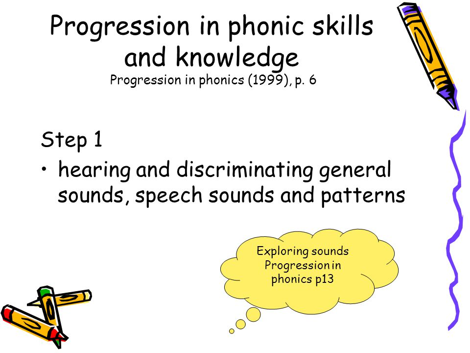 Progression in phonic skills and knowledge Progression in phonics (1999), p. 6 Step 1 hearing and discriminating general sounds, speech sounds and pat