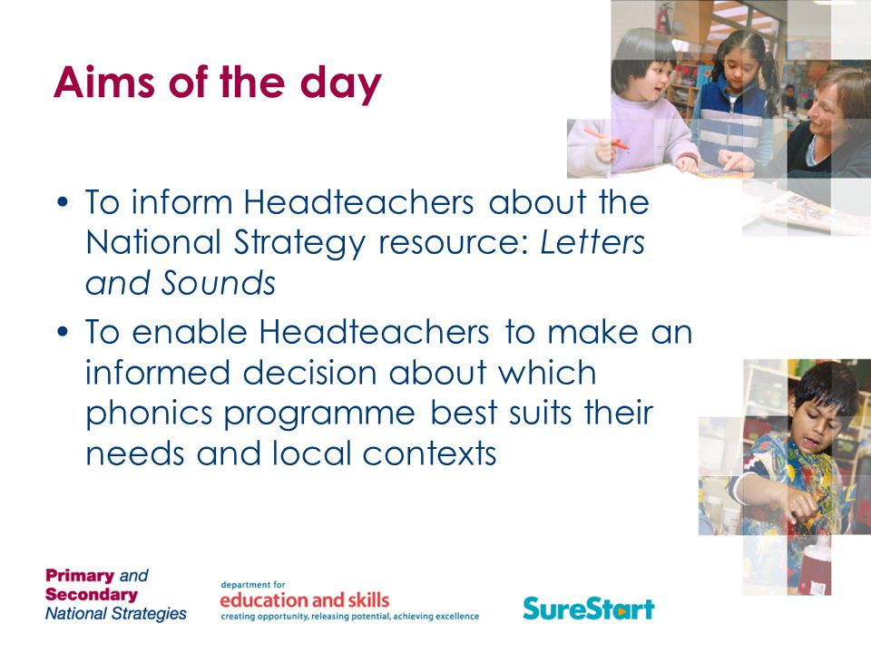 Discussion For Headteachers, discuss how children's progress in your school compares to these expectations For LAs, compare the picture of children's achievement in Linking Sounds and Letters in your LA with these expectations For both, discuss ways in which children's progress in phonics might be accelerated in the context of a broad and rich language curriculum.