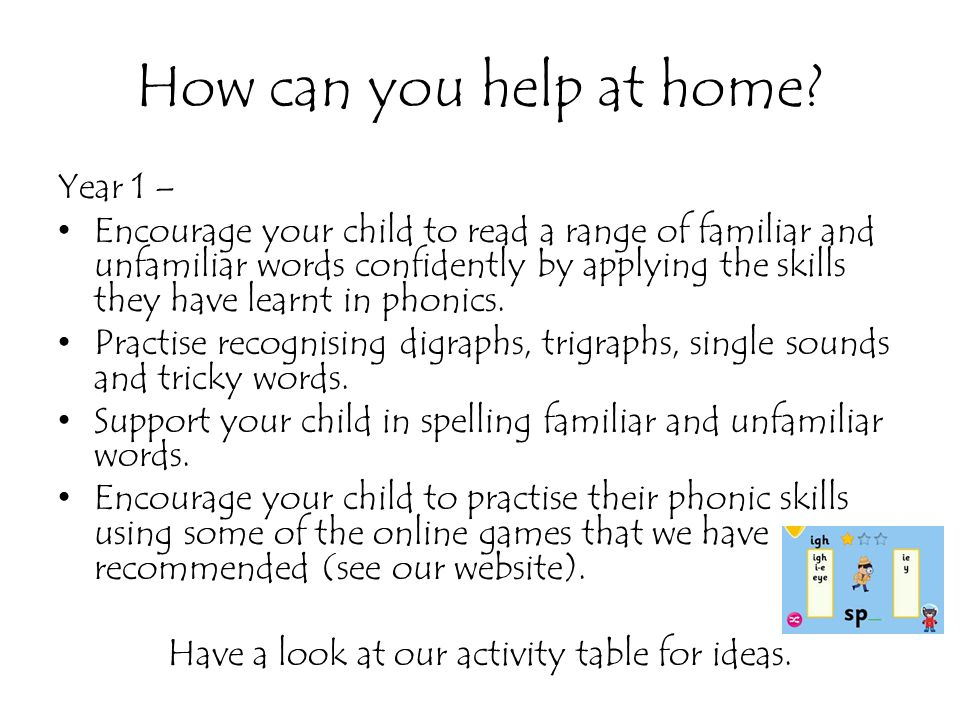 How can you help at home? Year 1 – Encourage your child to read a range of familiar and unfamiliar words confidently by applying the skills they have