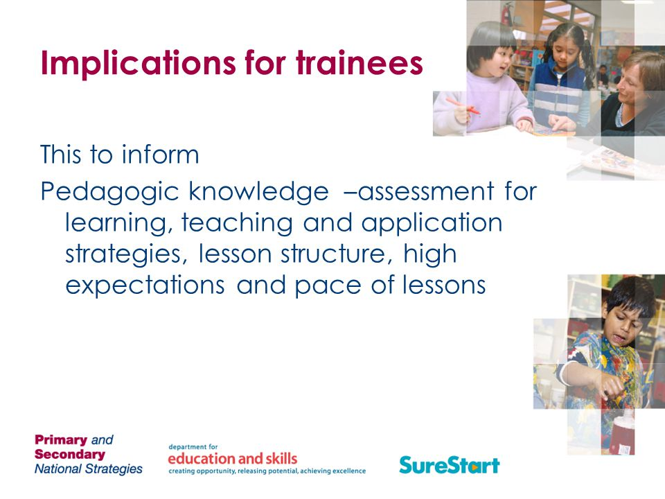 Implications for trainees This to inform Pedagogic knowledge –assessment for learning, teaching and application strategies, lesson structure, high expectations and pace of lessons
