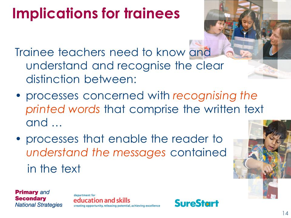 Trainee teachers need to know and understand and recognise the clear distinction between: processes concerned with recognising the printed words that comprise the written text and … processes that enable the reader to understand the messages contained in the text Implications for trainees 14