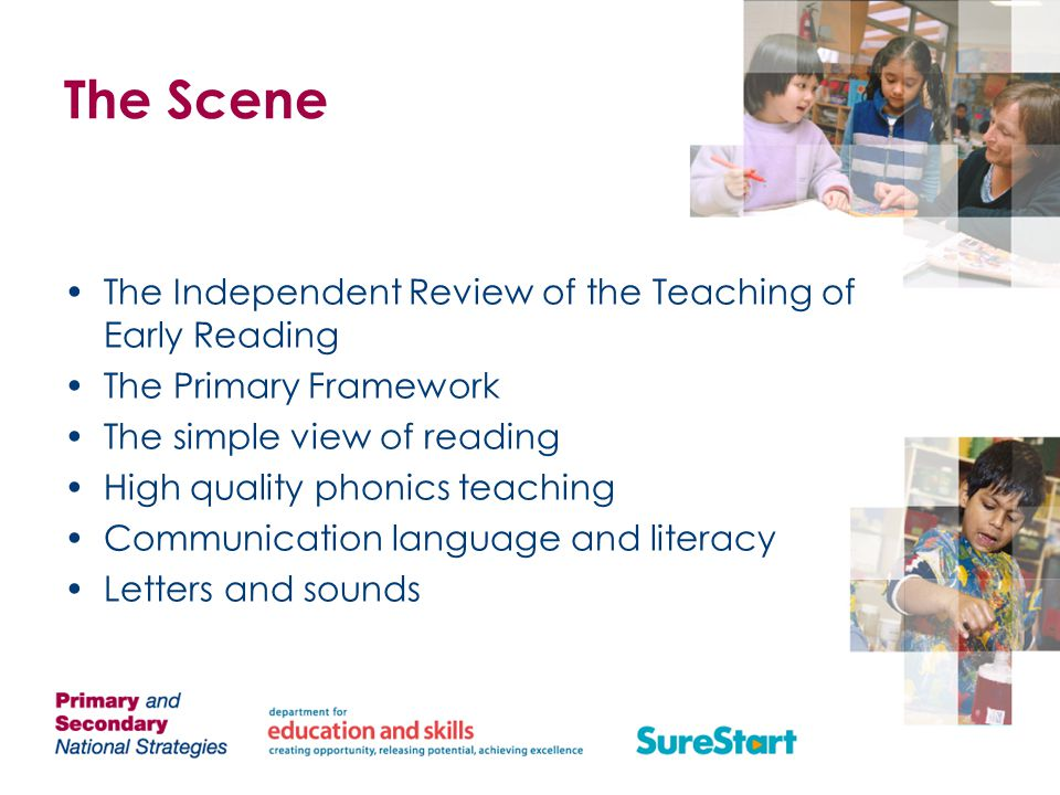 The Scene The Independent Review of the Teaching of Early Reading The Primary Framework The simple view of reading High quality phonics teaching Communication language and literacy Letters and sounds