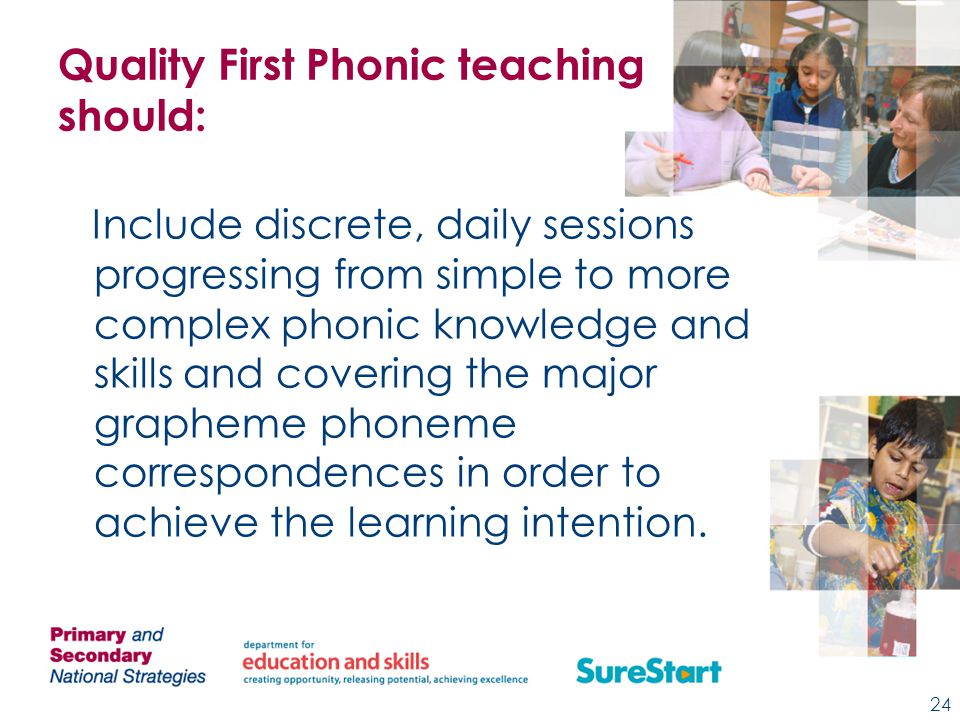 Quality First Phonic teaching should: Include discrete, daily sessions progressing from simple to more complex phonic knowledge and skills and covering the major grapheme phoneme correspondences in order to achieve the learning intention.