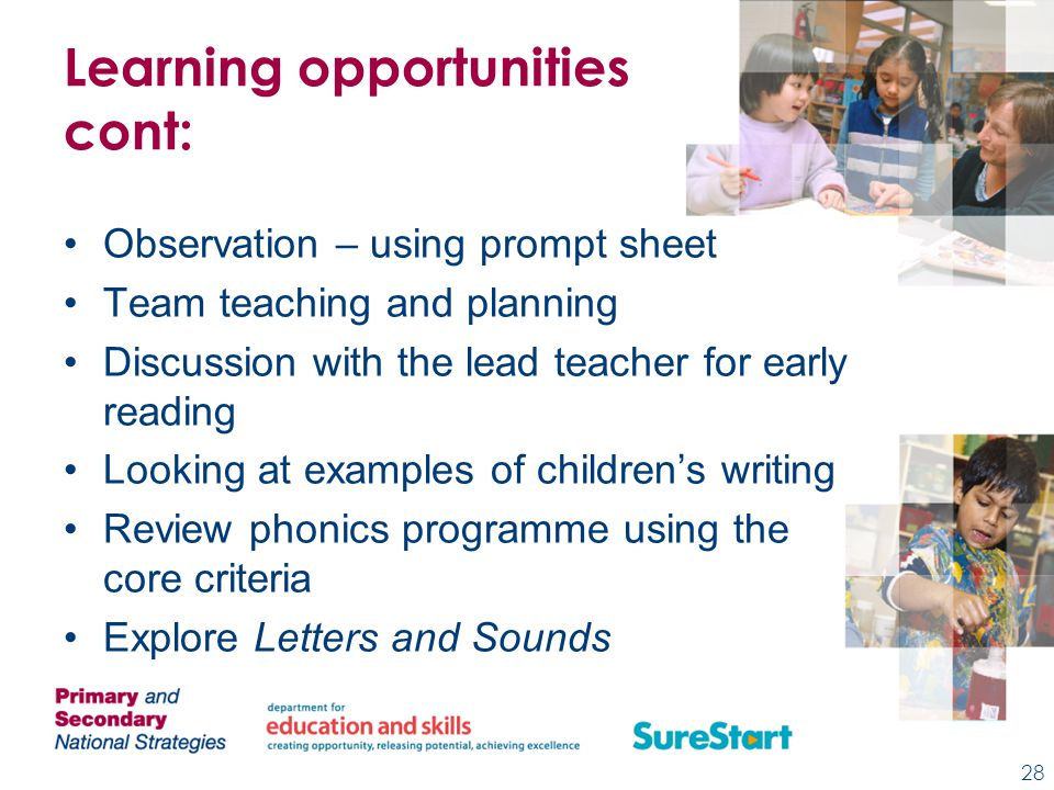Learning opportunities cont: Observation – using prompt sheet Team teaching and planning Discussion with the lead teacher for early reading Looking at examples of children's writing Review phonics programme using the core criteria Explore Letters and Sounds 28