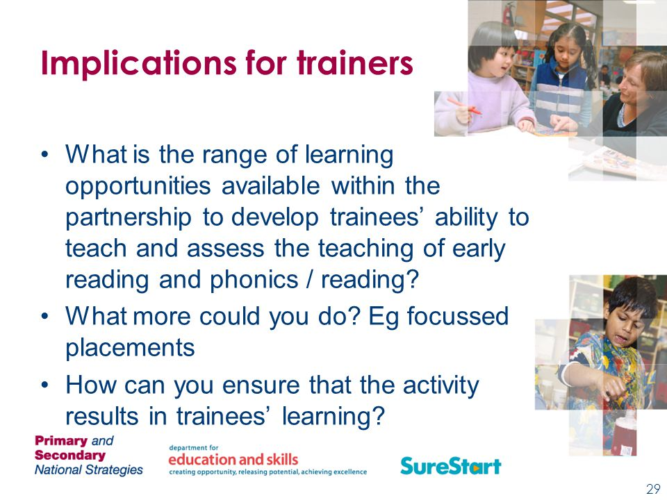 Implications for trainers What is the range of learning opportunities available within the partnership to develop trainees' ability to teach and assess the teaching of early reading and phonics / reading.