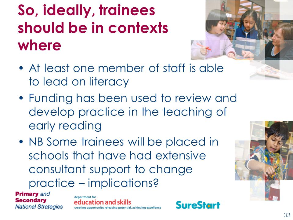 So, ideally, trainees should be in contexts where At least one member of staff is able to lead on literacy Funding has been used to review and develop practice in the teaching of early reading NB Some trainees will be placed in schools that have had extensive consultant support to change practice – implications.