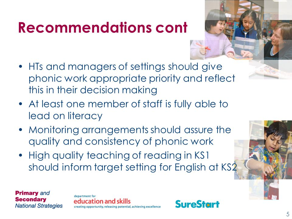 Recommendations cont HTs and managers of settings should give phonic work appropriate priority and reflect this in their decision making At least one member of staff is fully able to lead on literacy Monitoring arrangements should assure the quality and consistency of phonic work High quality teaching of reading in KS1 should inform target setting for English at KS2 5