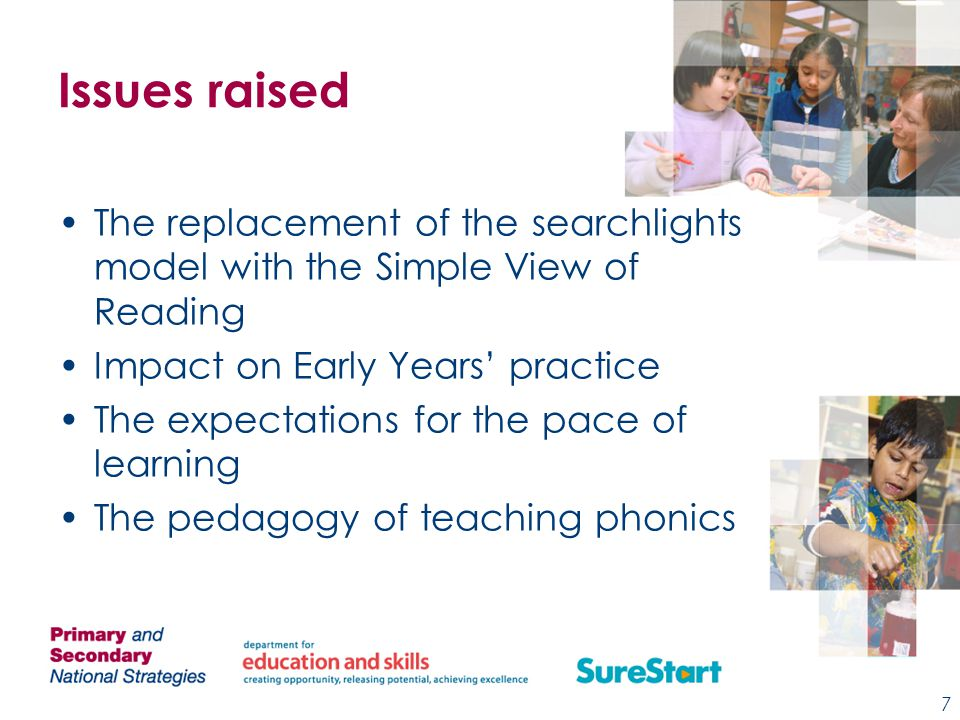 Issues raised The replacement of the searchlights model with the Simple View of Reading Impact on Early Years' practice The expectations for the pace of learning The pedagogy of teaching phonics 7