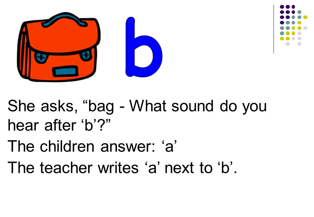 She asks, bag - What sound do you hear after 'b' The children answer: 'a' The teacher writes 'a' next to 'b'.