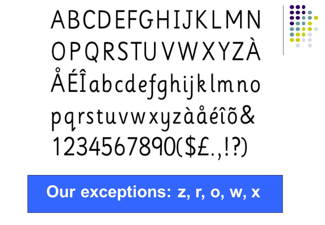Our exceptions: z, r, o, w, x