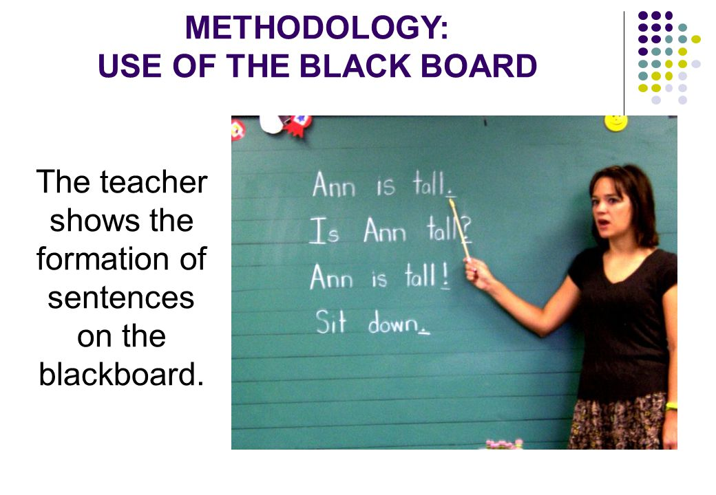 METHODOLOGY: USE OF THE BLACK BOARD The teacher shows the formation of sentences on the blackboard.