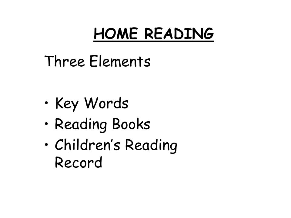 HOME READING Three Elements Key Words Reading Books Children's Reading Record
