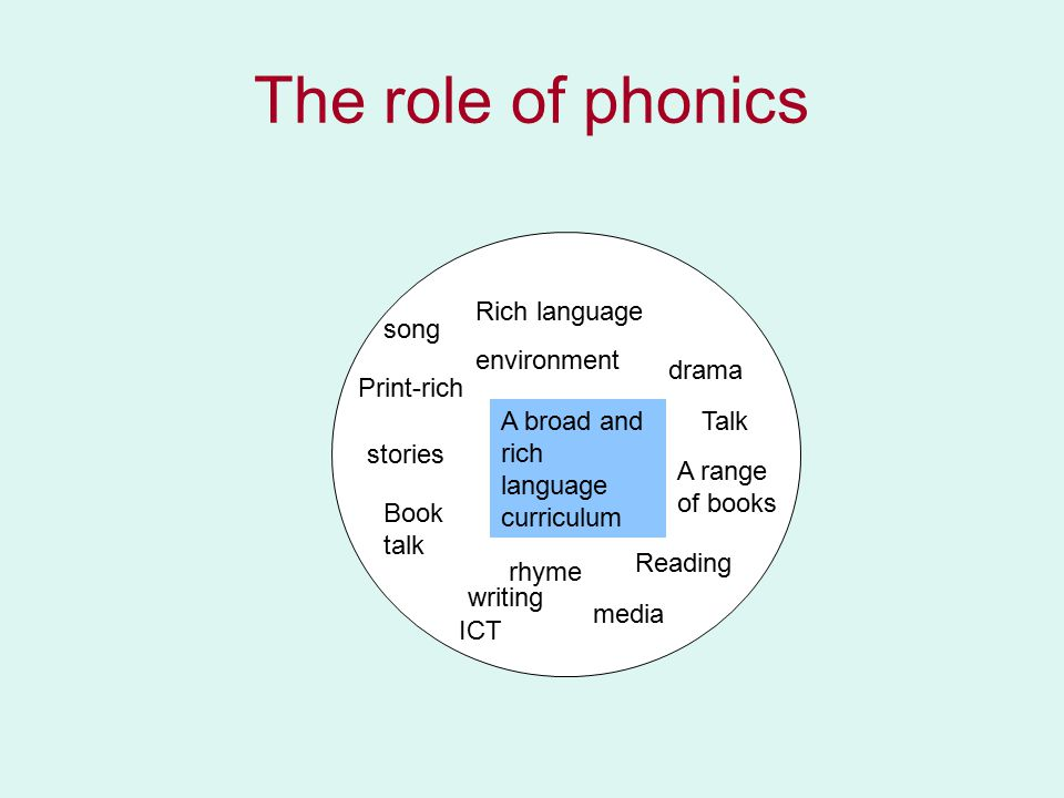 The role of phonics Rich language environment Talk stories Book talk Reading writing media ICT drama A broad and rich language curriculum A range of books Print-rich rhyme song