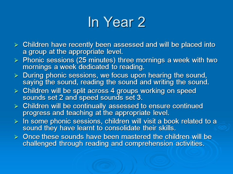 In Year 2  Children have recently been assessed and will be placed into a group at the appropriate level.