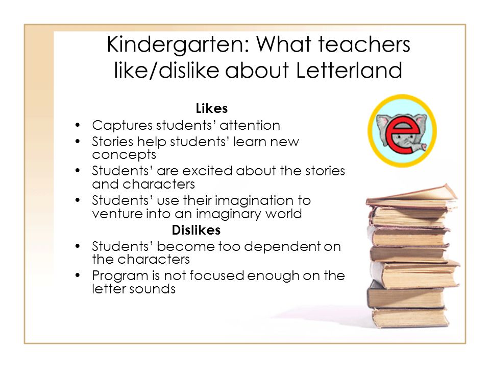 Kindergarten: What teachers like/dislike about Letterland Likes Captures students' attention Stories help students' learn new concepts Students' are e