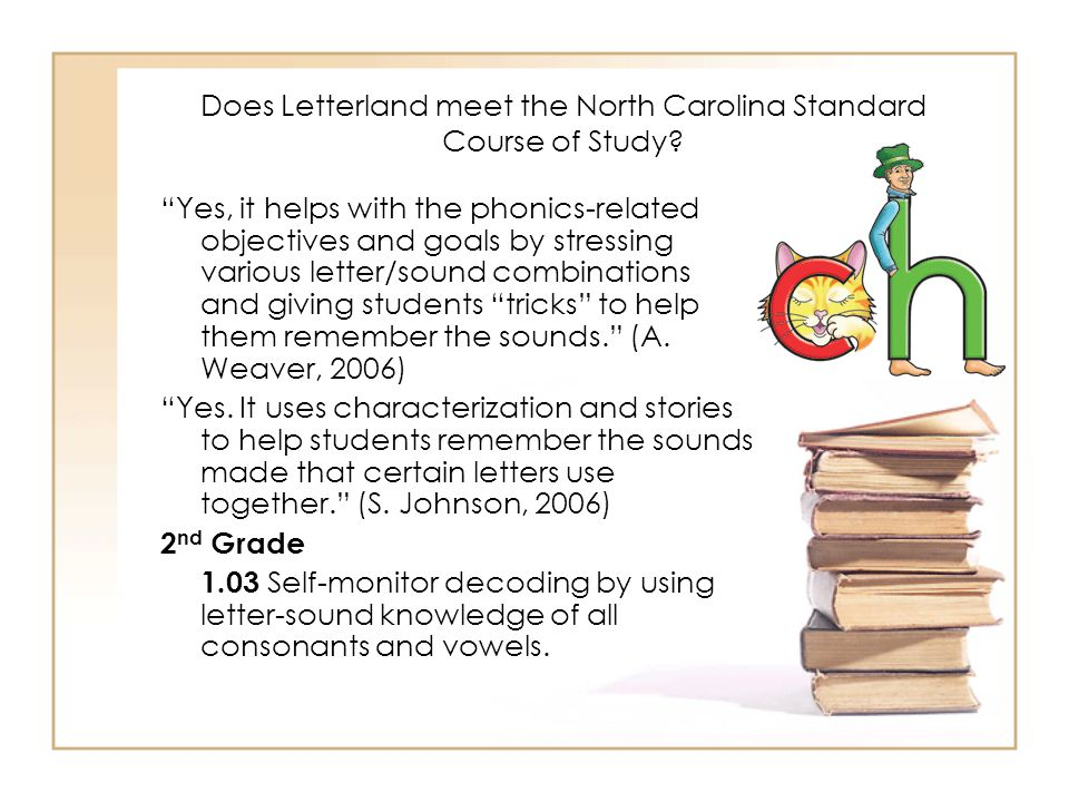 "Does Letterland meet the North Carolina Standard Course of Study? ""Yes, it helps with the phonics-related objectives and goals by stressing various le"