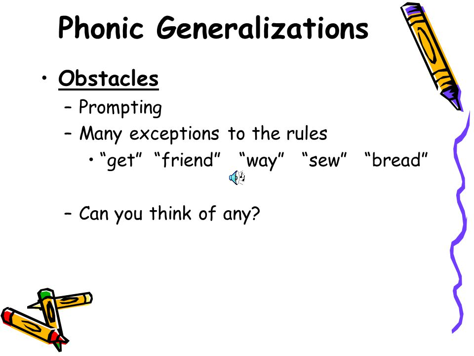 Phonic Generalizations Can you think of any?