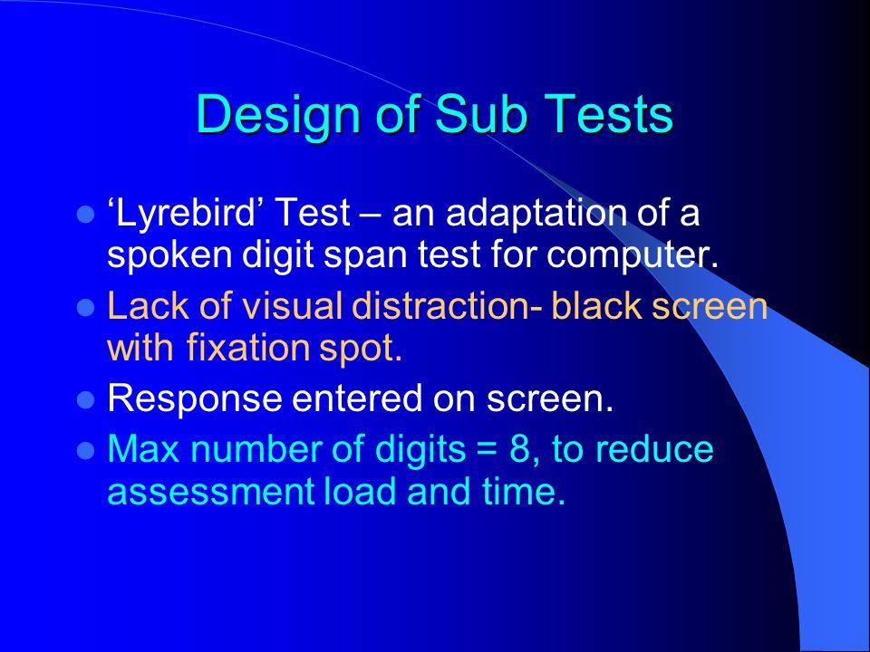 'Lyrebird' Test – an adaptation of a spoken digit span test for computer.