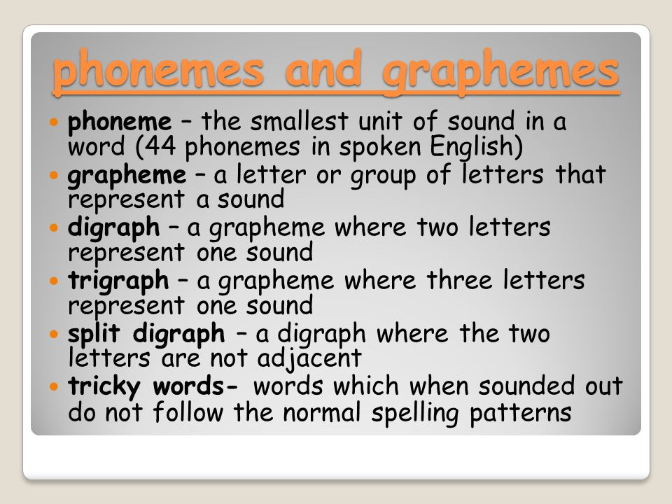 phonemes and graphemes phoneme – the smallest unit of sound in a word (44 phonemes in spoken English) grapheme – a letter or group of letters that represent a sound digraph – a grapheme where two letters represent one sound trigraph – a grapheme where three letters represent one sound split digraph – a digraph where the two letters are not adjacent tricky words- words which when sounded out do not follow the normal spelling patterns