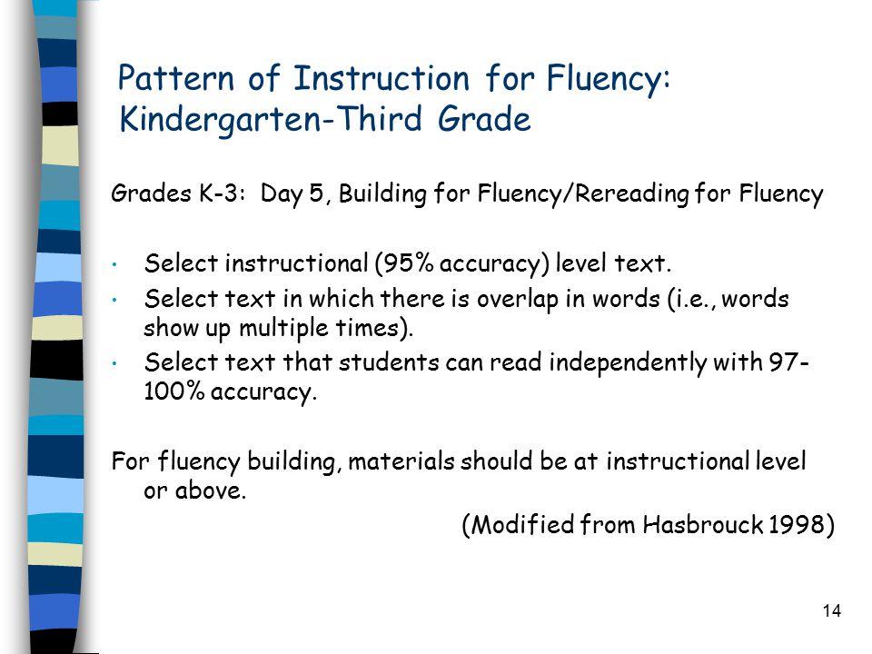 14 Pattern of Instruction for Fluency: Kindergarten-Third Grade Grades K-3: Day 5, Building for Fluency/Rereading for Fluency Select instructional (95% accuracy) level text.