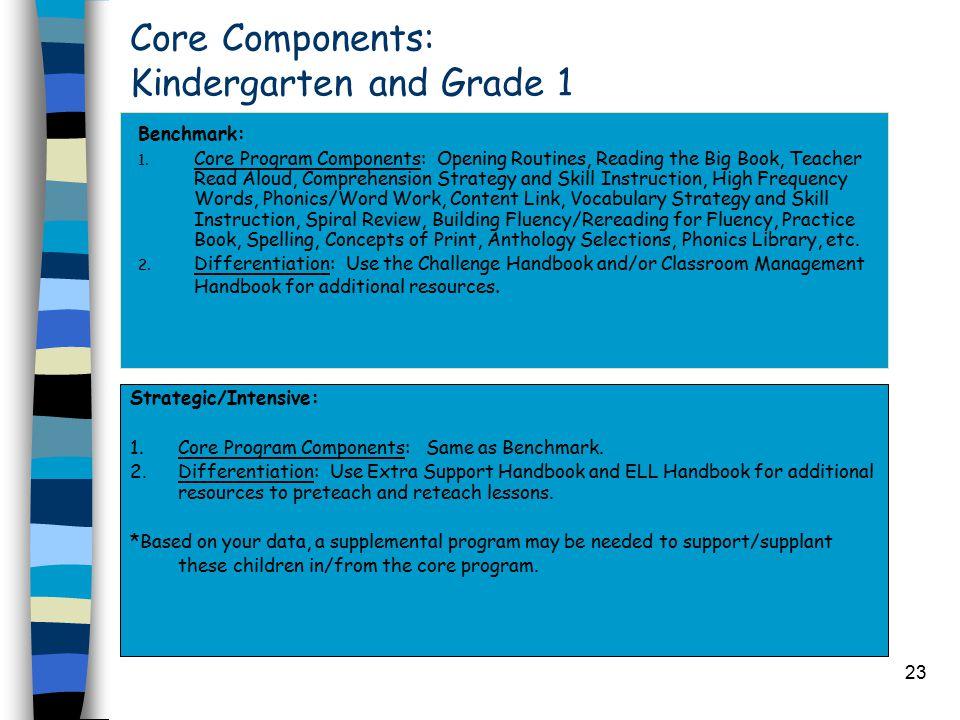 23 Core Components: Kindergarten and Grade 1 Benchmark: 1.