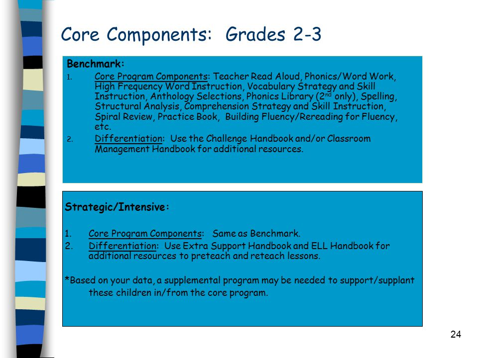 24 Core Components: Grades 2-3 Benchmark: 1. Core Program Components: Teacher Read Aloud, Phonics/Word Work, High Frequency Word Instruction, Vocabula