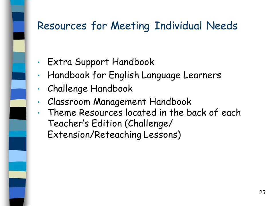 25 Resources for Meeting Individual Needs Extra Support Handbook Handbook for English Language Learners Challenge Handbook Classroom Management Handbook Theme Resources located in the back of each Teacher's Edition (Challenge/ Extension/Reteaching Lessons)