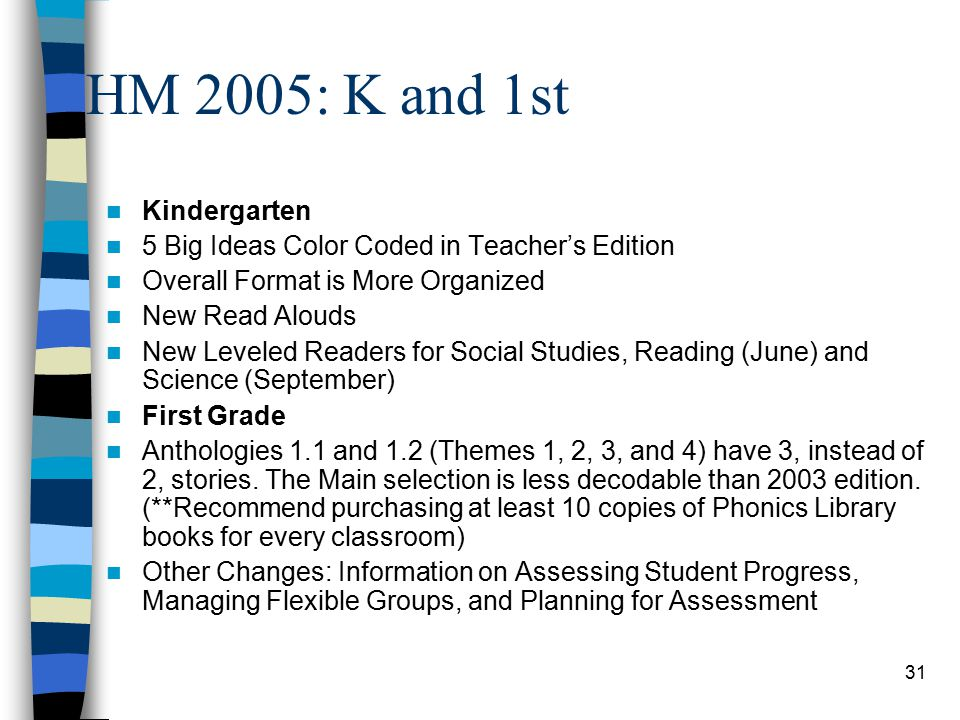 31 HM 2005: K and 1st Kindergarten 5 Big Ideas Color Coded in Teacher's Edition Overall Format is More Organized New Read Alouds New Leveled Readers for Social Studies, Reading (June) and Science (September) First Grade Anthologies 1.1 and 1.2 (Themes 1, 2, 3, and 4) have 3, instead of 2, stories.