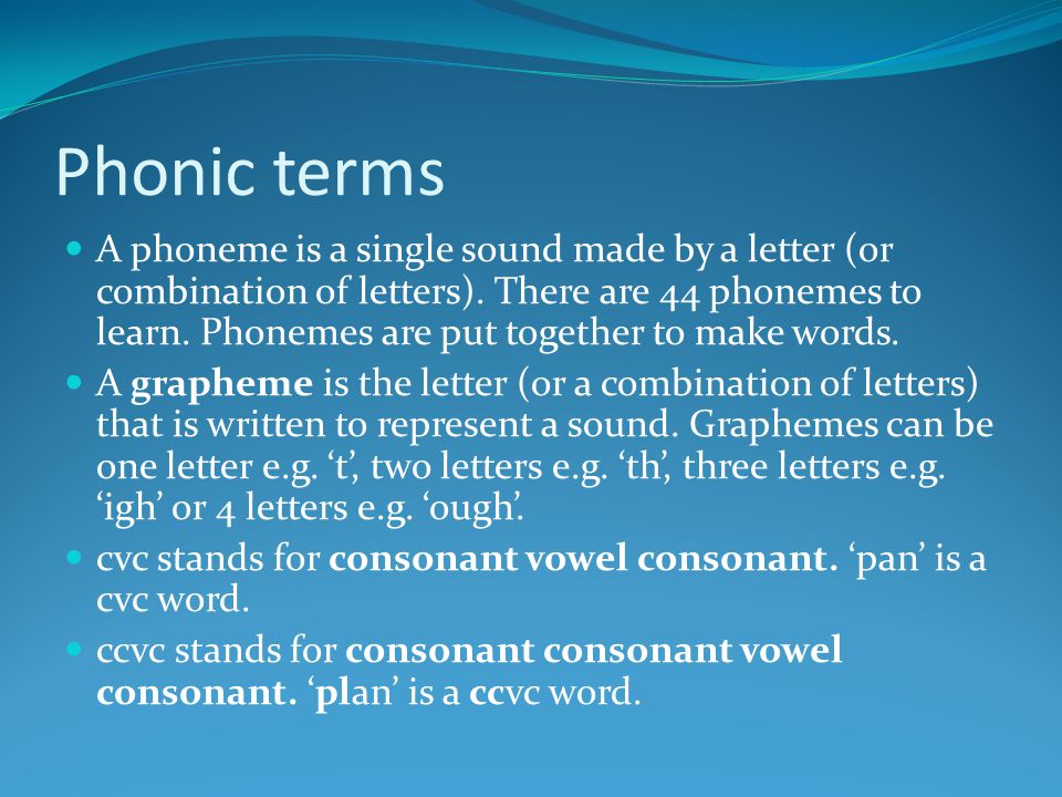 Synthetic phonics The ' synthetic ' part does not mean man-made, it refers to the process of synthesis, blending the sounds together into a word.