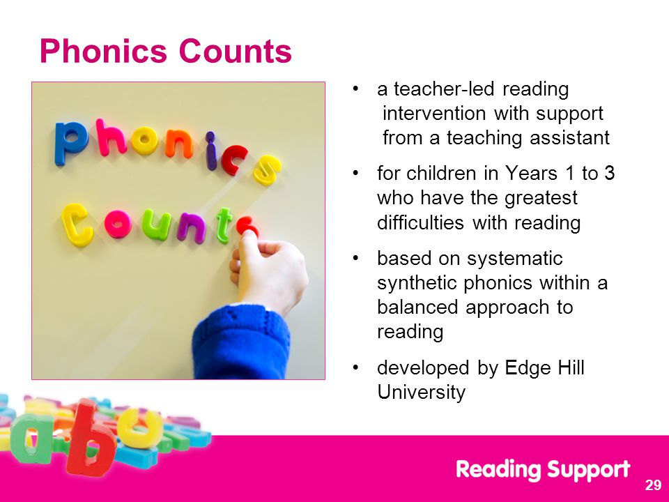 Phonics Counts a teacher-led reading intervention with support from a teaching assistant for children in Years 1 to 3 who have the greatest difficulties with reading based on systematic synthetic phonics within a balanced approach to reading developed by Edge Hill University 29