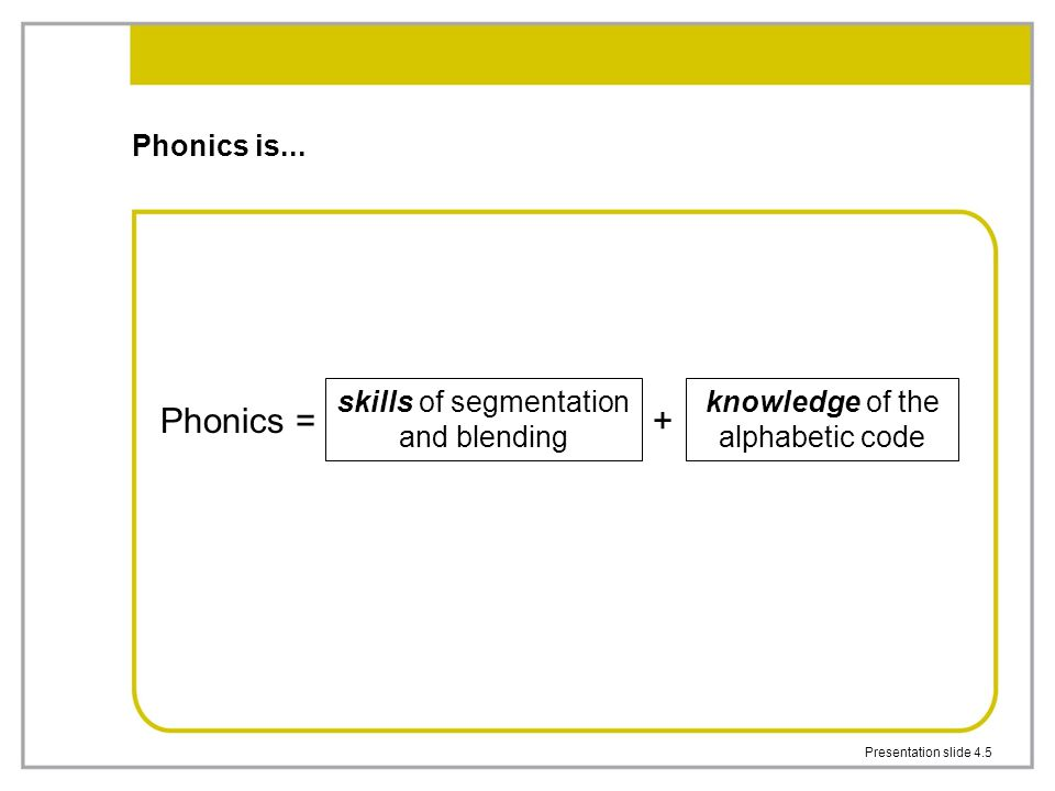 Presentation slide 4.5 Phonics is...