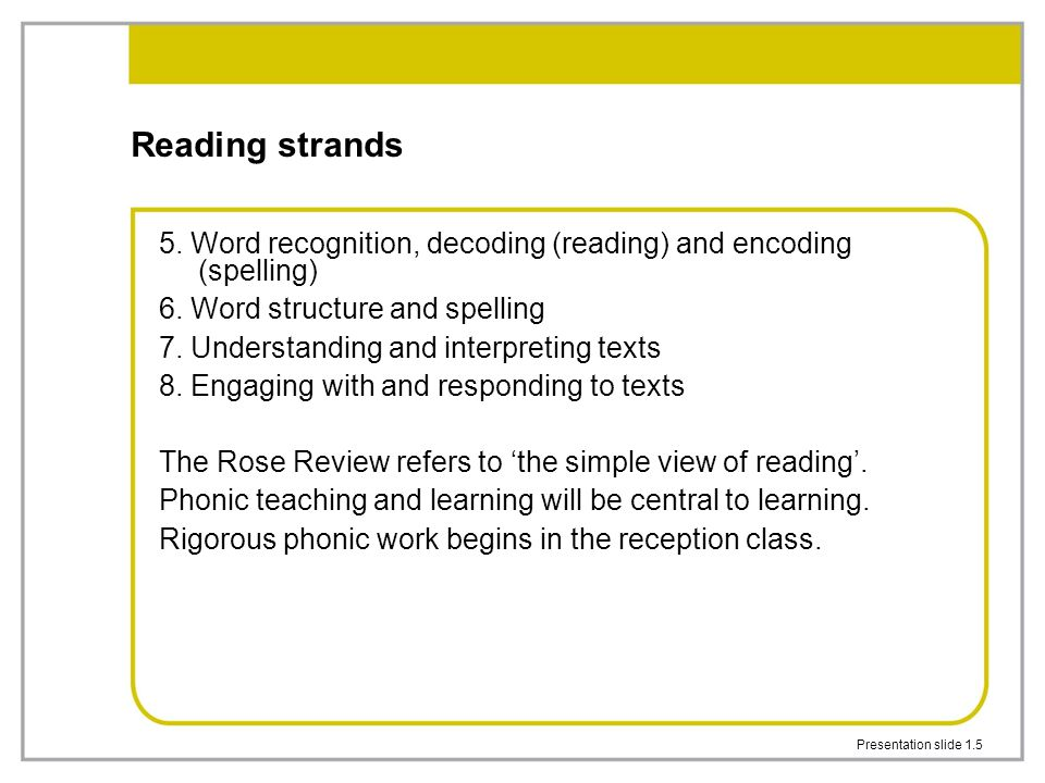 Presentation slide 3.2 Elements of the communication, language and literacy area of learning and early learning goals Language for communication Language for thinking Linking sounds and letters Reading Writing Handwriting