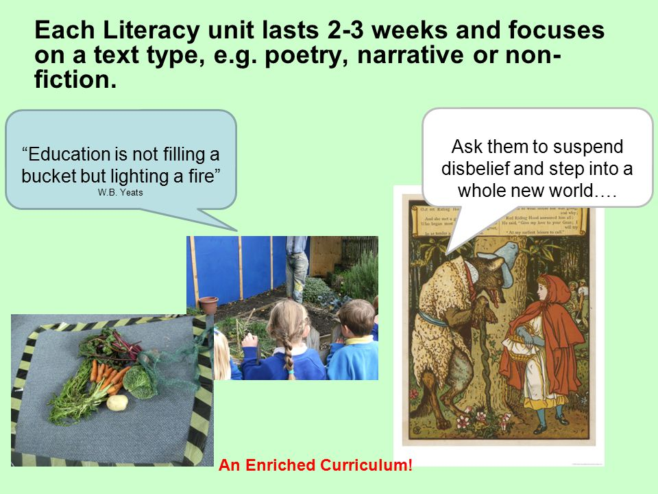 Each Literacy unit lasts 2-3 weeks and focuses on a text type, e.g.
