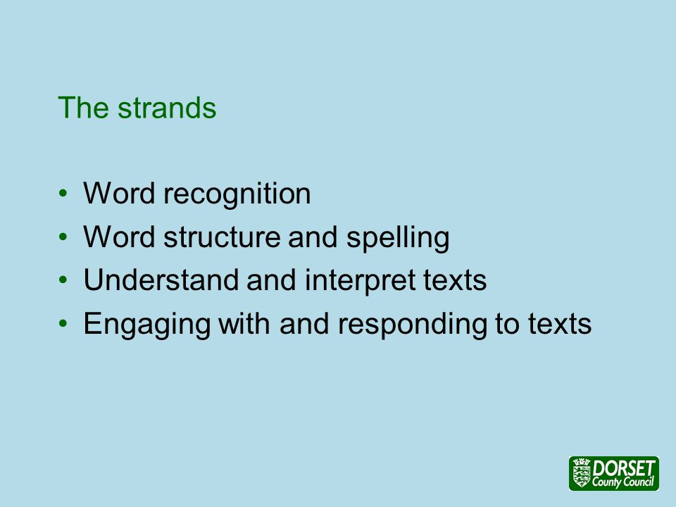 The strands Word recognition Word structure and spelling Understand and interpret texts Engaging with and responding to texts
