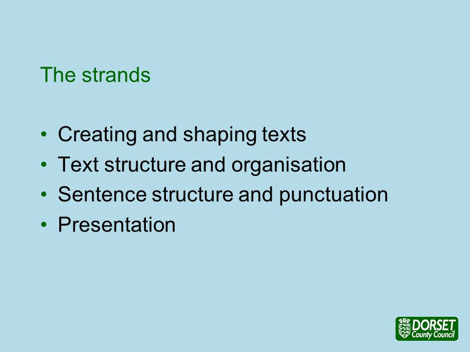 The strands Creating and shaping texts Text structure and organisation Sentence structure and punctuation Presentation