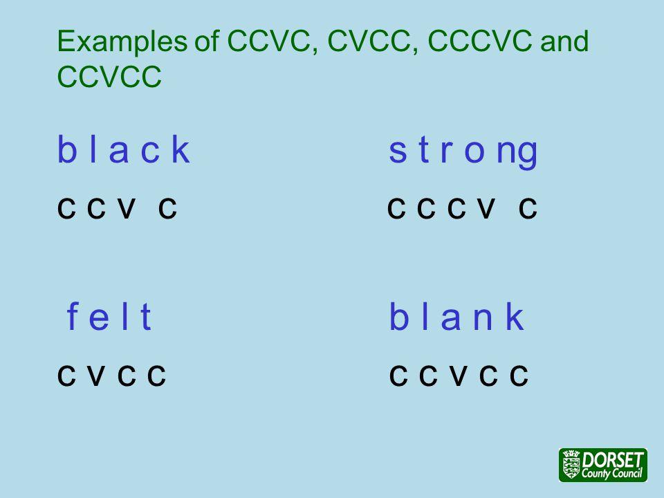 Examples of CCVC, CVCC, CCCVC and CCVCC b l a c ks t r o ng c c v c c c c v c f e l tb l a n k c v c cc c v c c