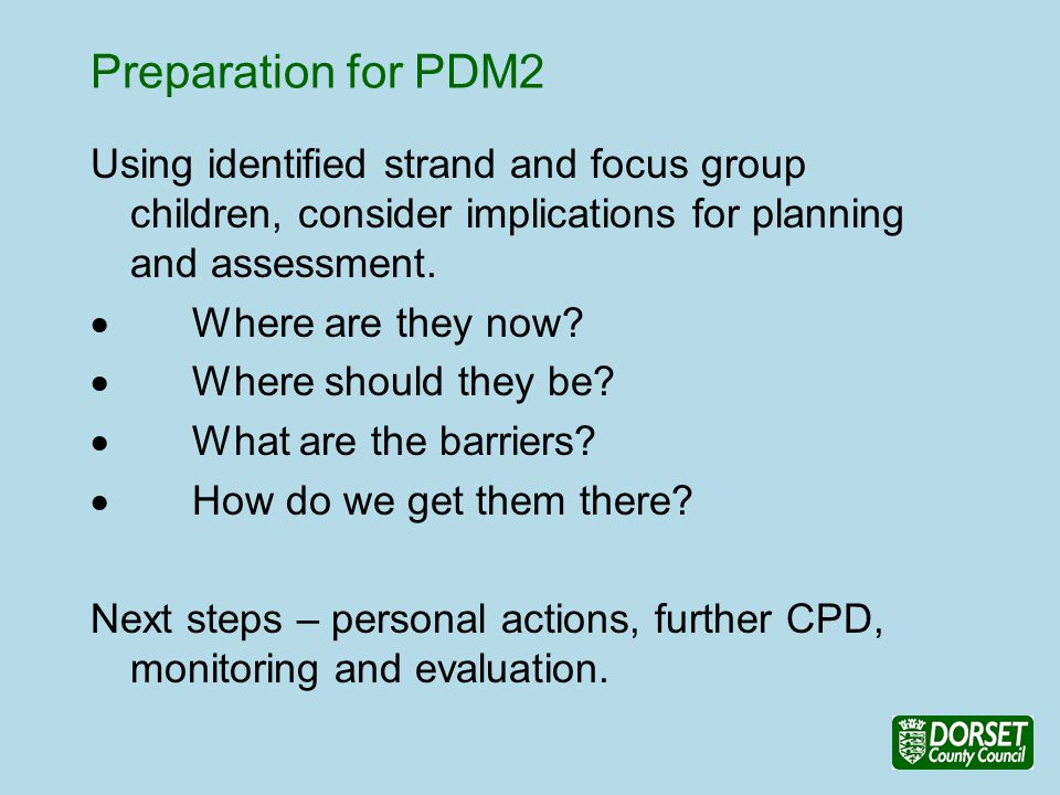 Preparation for PDM2 Using identified strand and focus group children, consider implications for planning and assessment.