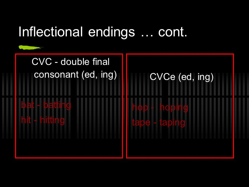 Inflectional endings … cont.