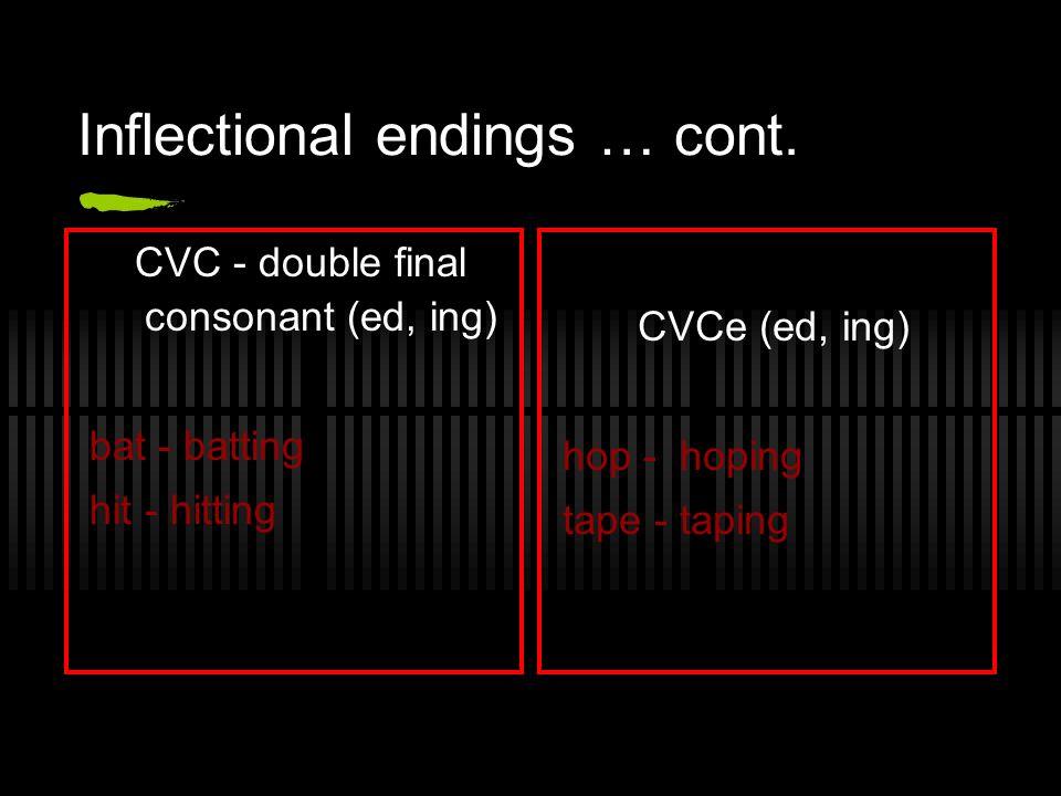 Inflectional endings … cont. CVC - double final consonant (ed, ing) bat - batting hit - hitting CVCe (ed, ing) hop - hoping tape - taping
