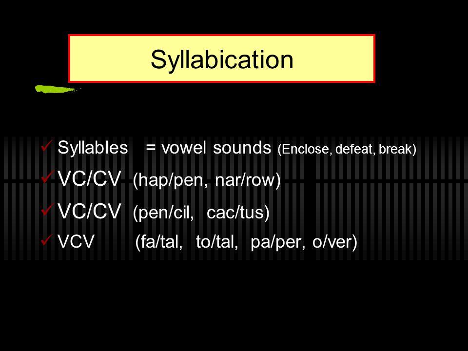 Syllabication Syllables = vowel sounds (Enclose, defeat, break) VC/CV (hap/pen, nar/row) VC/CV (pen/cil, cac/tus) VCV (fa/tal, to/tal, pa/per, o/ver)